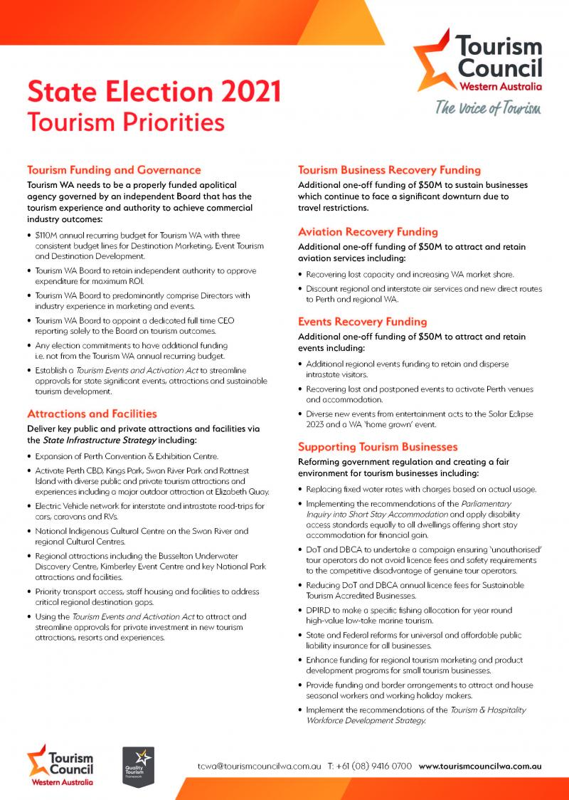 State Election 2021 Tourism Priorities