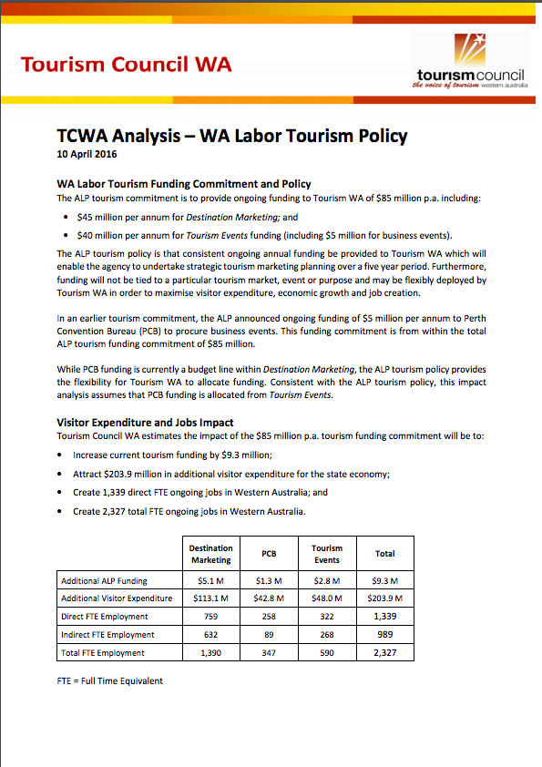 TCWA Analysis - WA Labor Tourism Policy