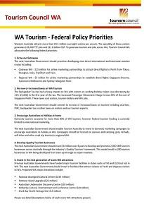 WA Tourism - Federal Policy Priorities