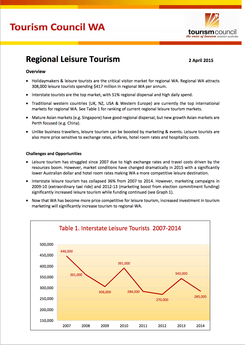 Regional Leisure Tourism Paper 2015