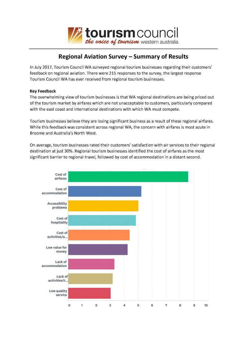 Regional Aviation Survey - Summary of Results
